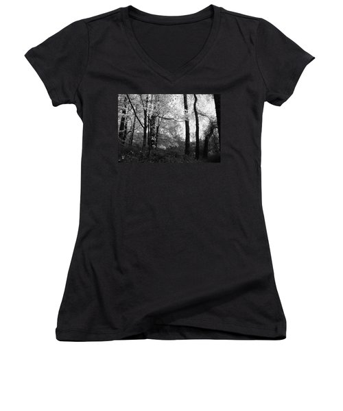 Women's V-Neck T-Shirt (Junior Cut) featuring the photograph Lasting Leaves by Kathleen Grace