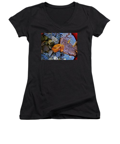 Women's V-Neck T-Shirt (Junior Cut) featuring the photograph Leaves Rocks Shadows by Bill Owen