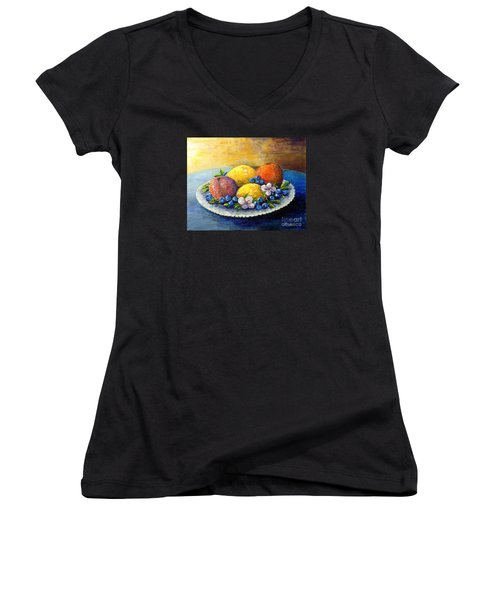 Women's V-Neck T-Shirt (Junior Cut) featuring the painting Lemons And Blueberries by Lou Ann Bagnall