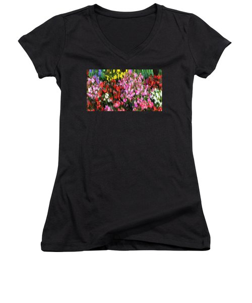 Women's V-Neck T-Shirt (Junior Cut) featuring the mixed media Les Fleurs by Terence Morrissey