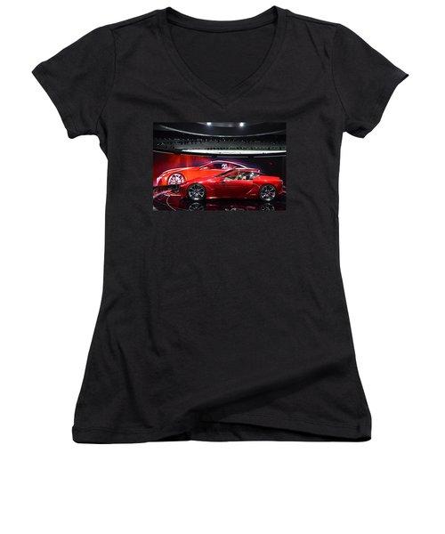 Lexus Lf-lc Women's V-Neck T-Shirt (Junior Cut) by Randy J Heath