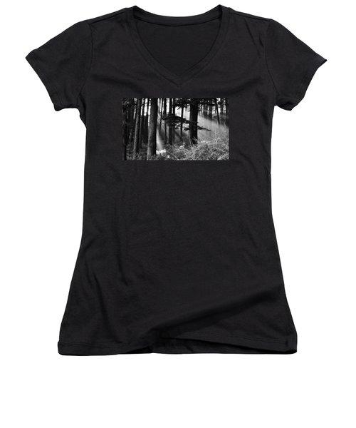 Women's V-Neck T-Shirt (Junior Cut) featuring the photograph Light Through The Trees by Don Schwartz