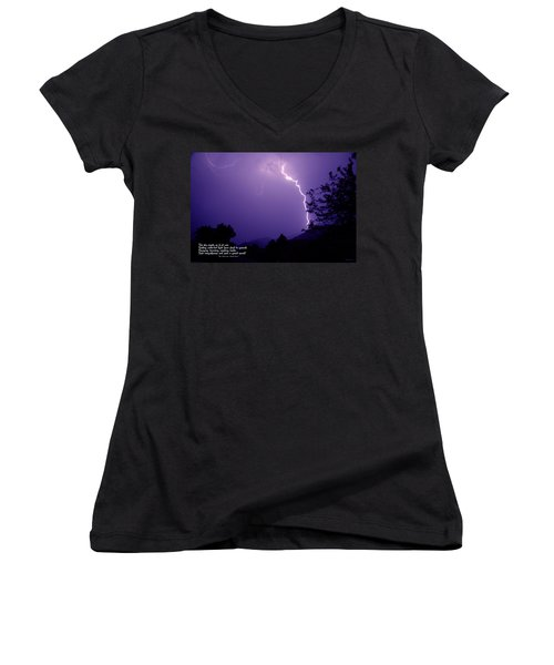 Lightning Over The Rogue Valley Women's V-Neck T-Shirt