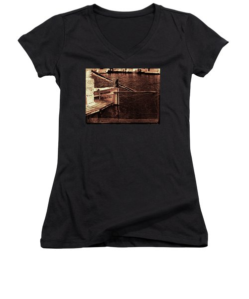 Women's V-Neck T-Shirt (Junior Cut) featuring the photograph Lil Kiss by Pedro Cardona