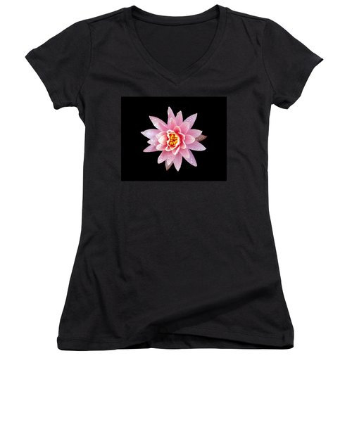 Lily On Black Women's V-Neck T-Shirt (Junior Cut) by Bill Barber