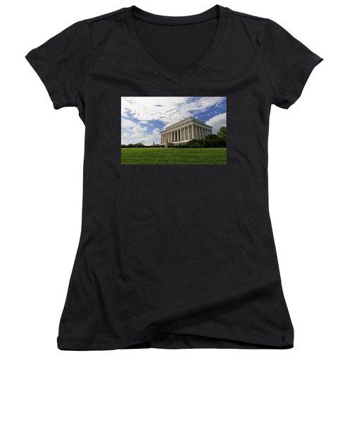Lincoln Memorial And Sky Women's V-Neck
