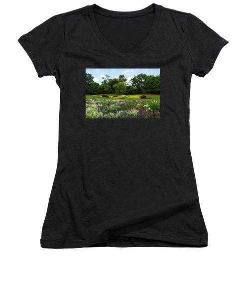 Women's V-Neck T-Shirt (Junior Cut) featuring the photograph Lincoln Park Gardens by Lynn Bauer