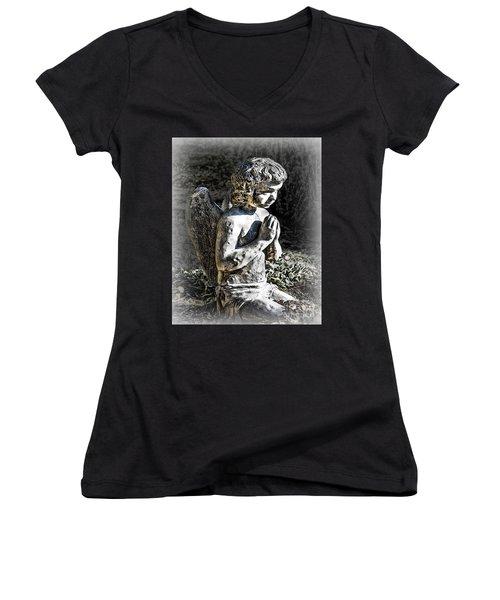 Little Angel Statue Women's V-Neck T-Shirt (Junior Cut) by Danuta Bennett