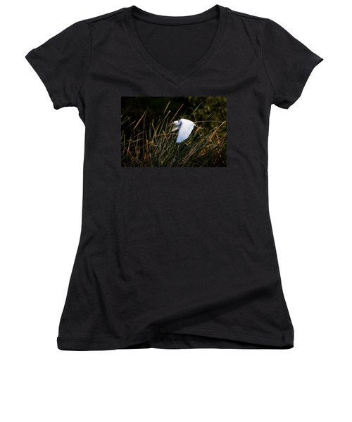 Women's V-Neck T-Shirt (Junior Cut) featuring the photograph Little Blue Heron Before The Change To Blue by Steven Sparks