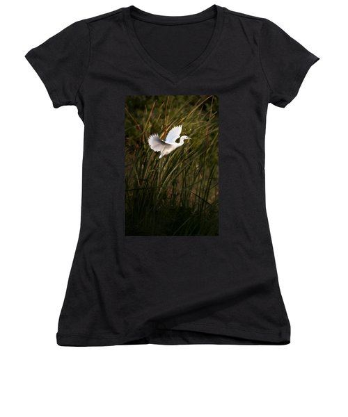 Women's V-Neck T-Shirt (Junior Cut) featuring the photograph Little Blue Heron On Approach by Steven Sparks