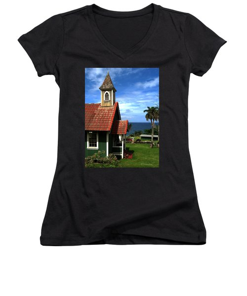 Little Green Church In Hawaii Women's V-Neck (Athletic Fit)