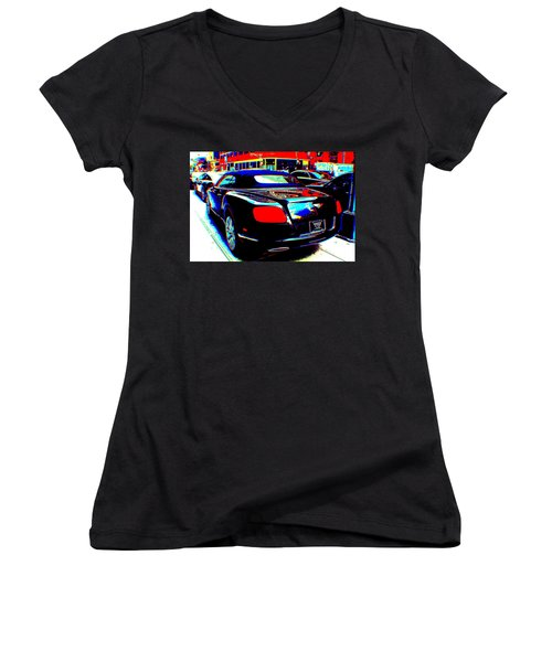 Living  In A Movie Women's V-Neck T-Shirt (Junior Cut) by Rogerio Mariani