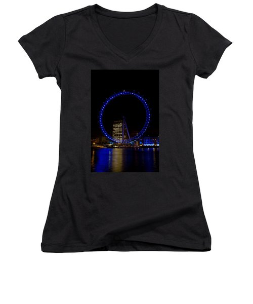London Eye And River Thames View Women's V-Neck T-Shirt