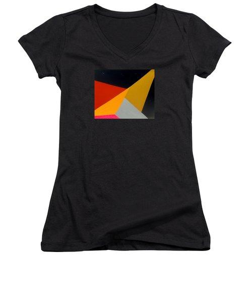 Lou Reed Tribute Lulu Women's V-Neck T-Shirt (Junior Cut) by Dick Sauer