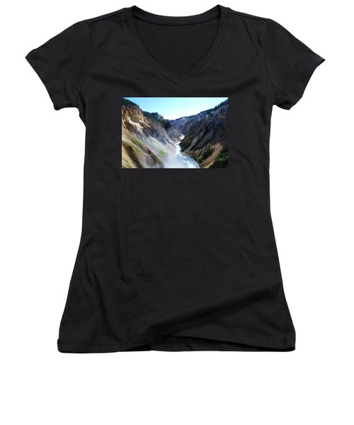 Lower Falls - Yellowstone Women's V-Neck (Athletic Fit)