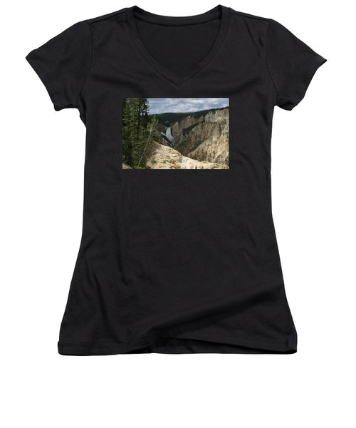 Lower Falls Of Yellowstone Women's V-Neck T-Shirt (Junior Cut) by Living Color Photography Lorraine Lynch