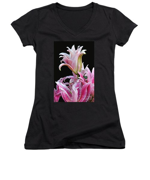 Women's V-Neck featuring the photograph Luscious Lilies by Byron Varvarigos