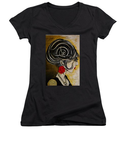 Women's V-Neck T-Shirt (Junior Cut) featuring the painting Madame D. Eternal's Dance by Sandro Ramani