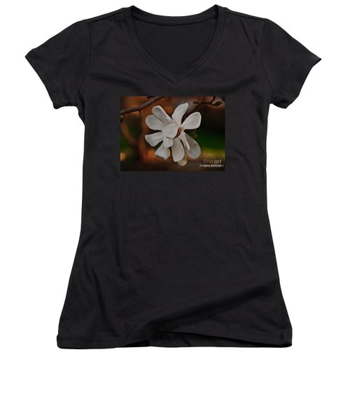 Women's V-Neck T-Shirt (Junior Cut) featuring the photograph Magnolia Bloom by Barbara McMahon
