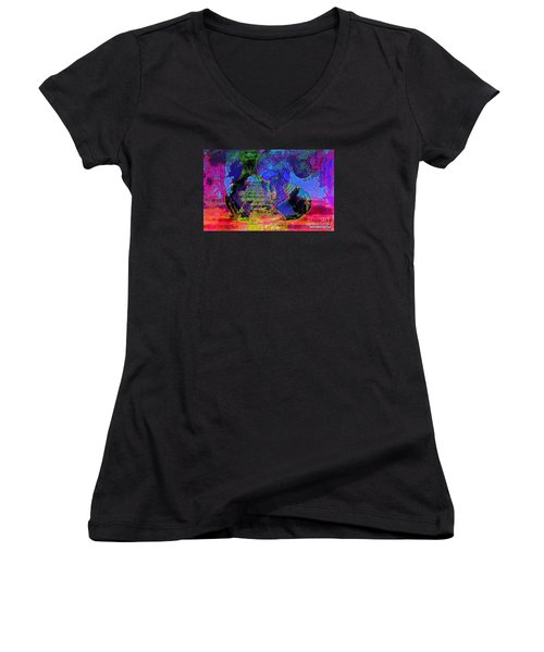 Women's V-Neck T-Shirt (Junior Cut) featuring the painting Mapped In Time  Pottery Collection by Sherri  Of Palm Springs