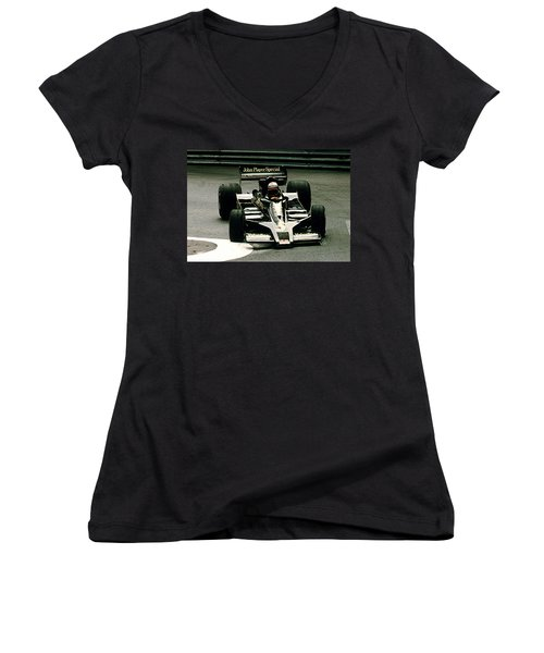 Mario World Champ Women's V-Neck T-Shirt (Junior Cut) by Michael Nowotny