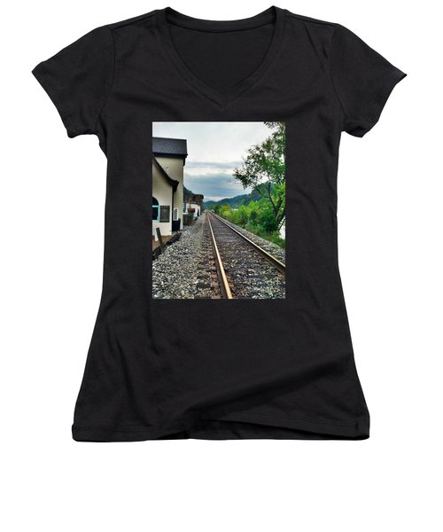 Women's V-Neck T-Shirt (Junior Cut) featuring the photograph Marshall Nc by Janice Spivey
