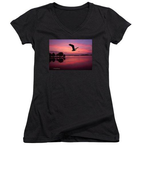 Women's V-Neck T-Shirt (Junior Cut) featuring the photograph Mauve Sundown Eagle  by Randall Branham