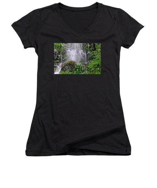 Mendenhall Glacier Flooding Waterfall Juneau Alaska 1542 Women's V-Neck T-Shirt (Junior Cut) by Michael Bessler