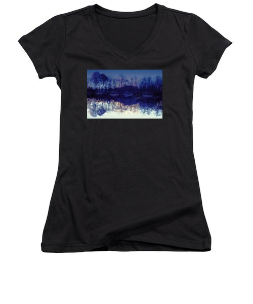 Women's V-Neck T-Shirt (Junior Cut) featuring the photograph Mirror Pond In The Berkshires by Tom Wurl