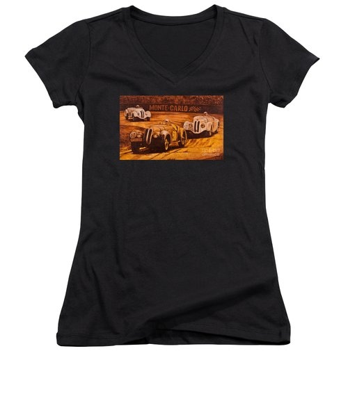 Women's V-Neck T-Shirt (Junior Cut) featuring the painting Monte-carlo 1937 by Igor Postash