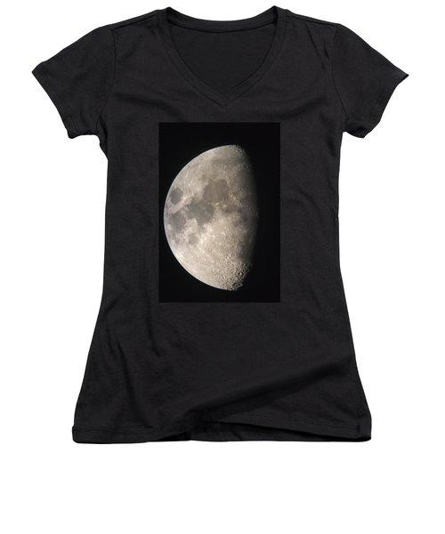 Women's V-Neck T-Shirt (Junior Cut) featuring the photograph Moon Against The Black Sky by John Short