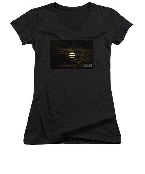 Women's V-Neck T-Shirt (Junior Cut) featuring the photograph Moon Behind The Clouds by William Norton