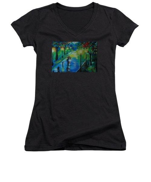 Moonlight Stroll Series 1 Women's V-Neck T-Shirt (Junior Cut) by Leslie Allen