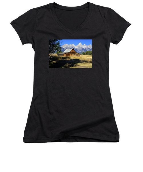 Women's V-Neck T-Shirt (Junior Cut) featuring the photograph Mormon Row Barn by Marty Koch