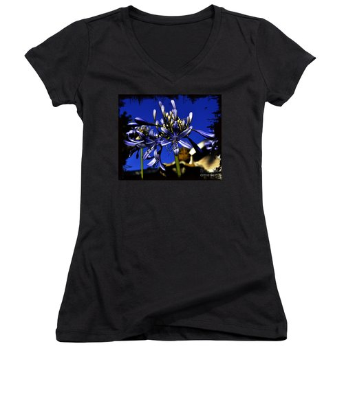 Women's V-Neck T-Shirt (Junior Cut) featuring the photograph Morning Blooms by Clayton Bruster