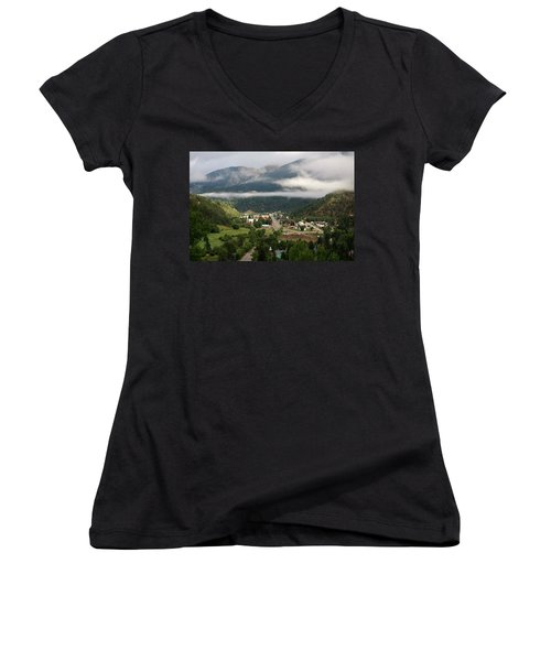 Morning Clouds Over Red River Women's V-Neck T-Shirt
