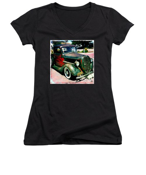 Women's V-Neck T-Shirt (Junior Cut) featuring the photograph Morning Glory Coal Truck by Nina Prommer