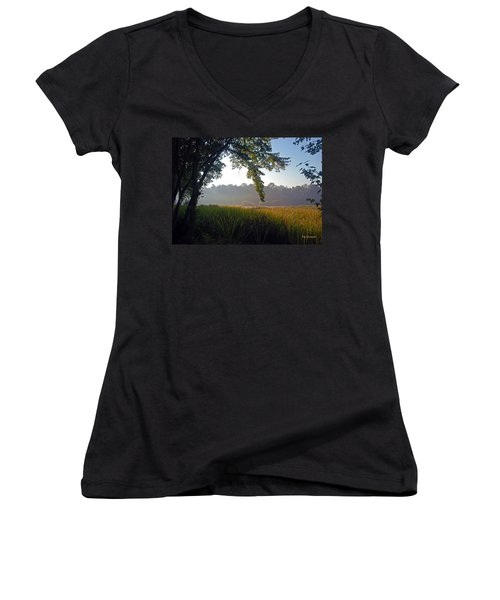 Morning On The River Women's V-Neck (Athletic Fit)