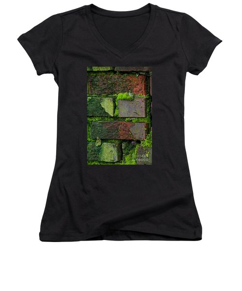 Women's V-Neck T-Shirt (Junior Cut) featuring the digital art Mossy Brick Wall by Carol Ailles