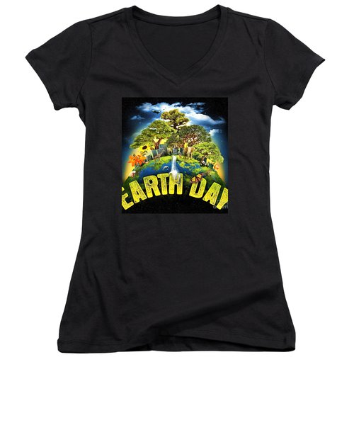 Mother Earth Women's V-Neck T-Shirt (Junior Cut) by Pg Reproductions