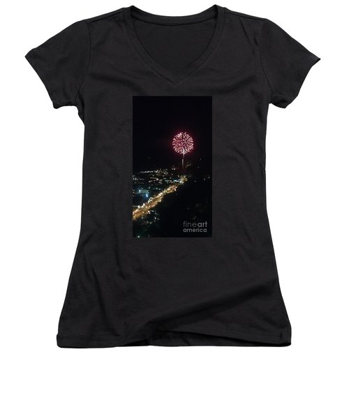 Women's V-Neck T-Shirt (Junior Cut) featuring the photograph Mountain Fireworks by Janice Spivey