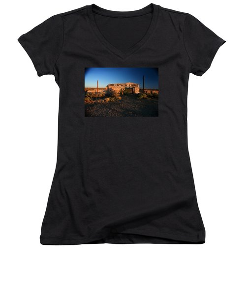 Women's V-Neck T-Shirt (Junior Cut) featuring the photograph Mountain Lions At Two Guns by Lon Casler Bixby