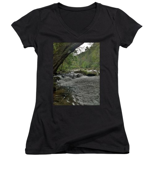 Women's V-Neck T-Shirt (Junior Cut) featuring the photograph Mountain Stream by Janice Spivey