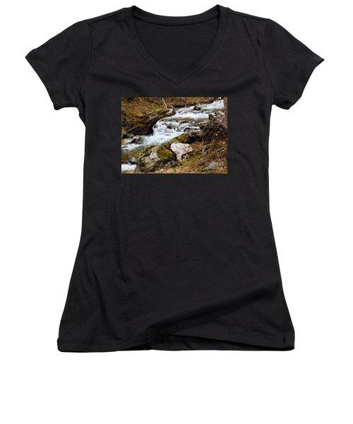 Women's V-Neck T-Shirt (Junior Cut) featuring the photograph Mountain Stream by Les Palenik