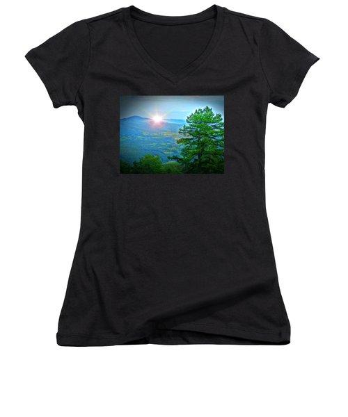 Mountain Sunrise Women's V-Neck T-Shirt (Junior Cut) by Dan Stone