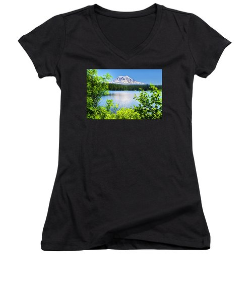 Mt Adams And Takhlakh Lake Women's V-Neck T-Shirt