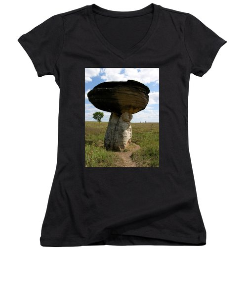 Mushroom Rock Women's V-Neck (Athletic Fit)
