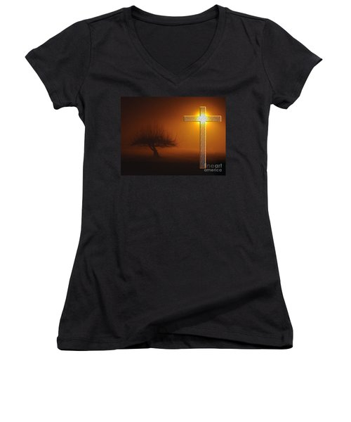 Women's V-Neck T-Shirt (Junior Cut) featuring the photograph My Life In God's Hands 3 To 4 Ration by Clayton Bruster