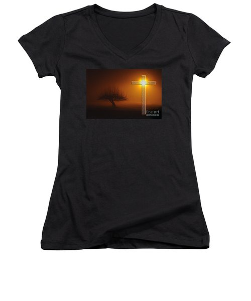Women's V-Neck T-Shirt (Junior Cut) featuring the photograph My Life In God's Hands by Clayton Bruster