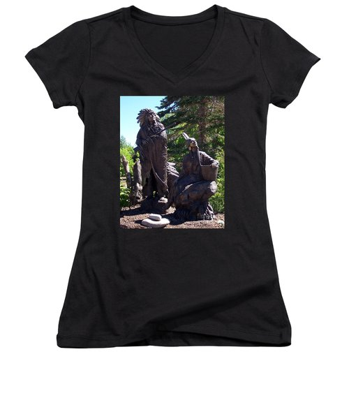 Women's V-Neck T-Shirt (Junior Cut) featuring the photograph Native American Statue by Chalet Roome-Rigdon